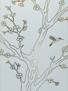 Cherry Blossom II with Glass Etching Asian Style