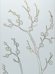 Cherry Blossom with Glass Etching Asian Decor