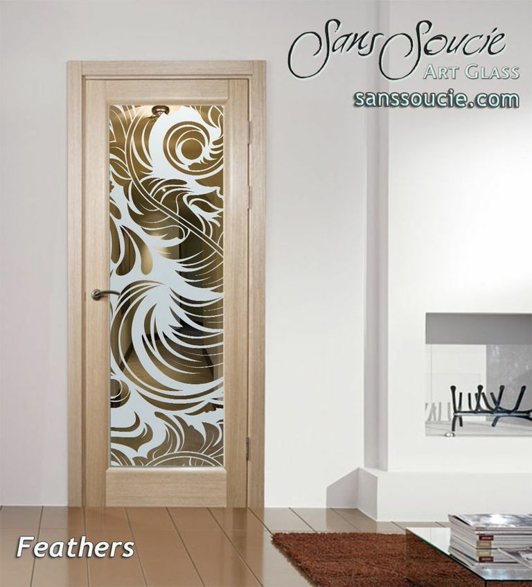 Interior Doors With Glass Glass Etching Soft Whimsical Beautiful French  Style Sans Soucie Feathers