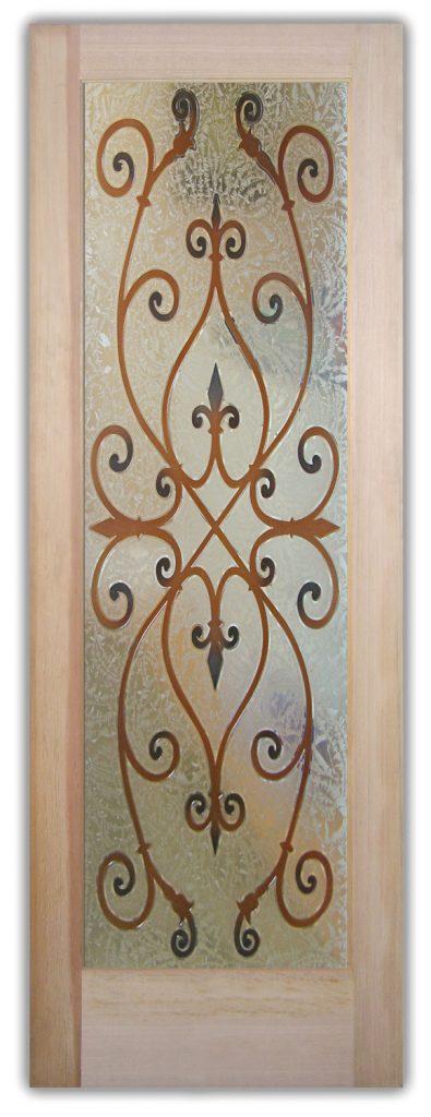Corazones 3D Painted Gluechip Etched Glass Door