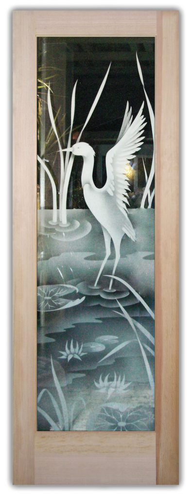 etched glass asian decor cranes birds lake wildlife scene