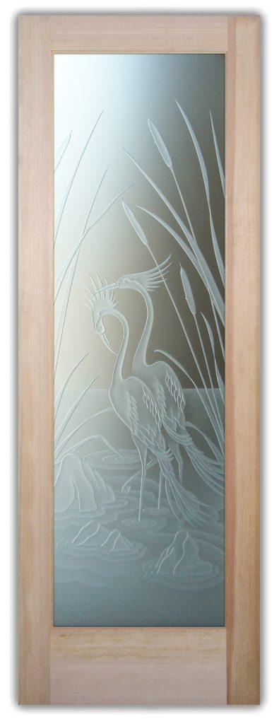 cranes and cattails 3D interior door or exterior door
