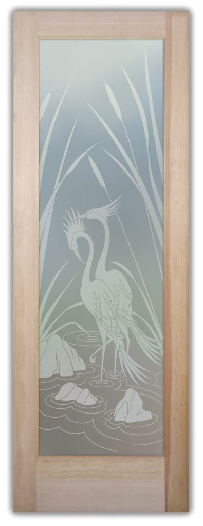 Cranes & Cattails 1D Private Etched Glass Door
