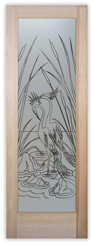 cranes & cattails pinstripe pantry door
