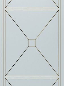 Cross Hatch with Glass Etching Contemporary Style