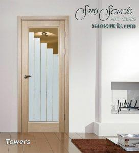 Etched glass front doors custom glass contemporary decor rectangular steps descending geometric patterns towers sans soucie