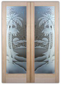 palm sunset 3D interior glass doors