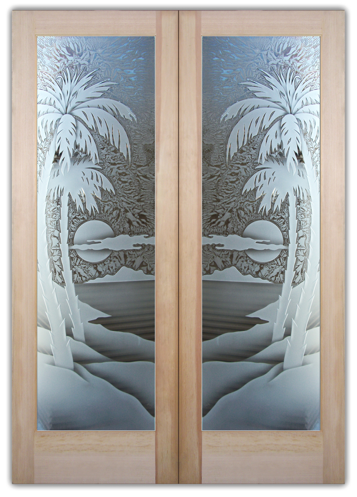 palm sunset 3D interior glass doors & Palm Sunset 3D Etched Glass Door Beach Decor Style