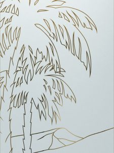 Desert Palms with Glass Etching Trees Decor