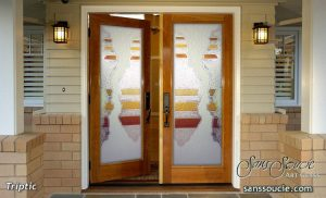 Exterior Glass Doors Etched Glass Eclectic Style Rustic Decor Waves