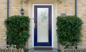 exterior glass door frosted glass rustic decor trees branches