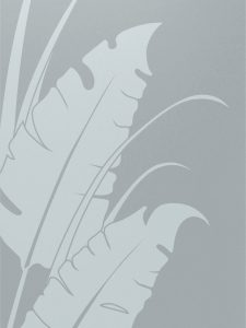 etched glass tropical style natural foliage banana leaves & reeds sans soucie
