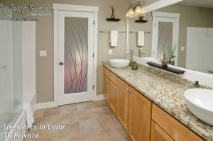 Interior Glass Doors Etched Glass Modern Design Sleek Arcs Contemporary Design
