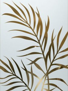 frosted glass leaves branches etched glass tropical design sans soucie