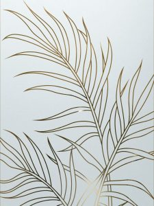 Ferns with Glass Etching Tropical Design