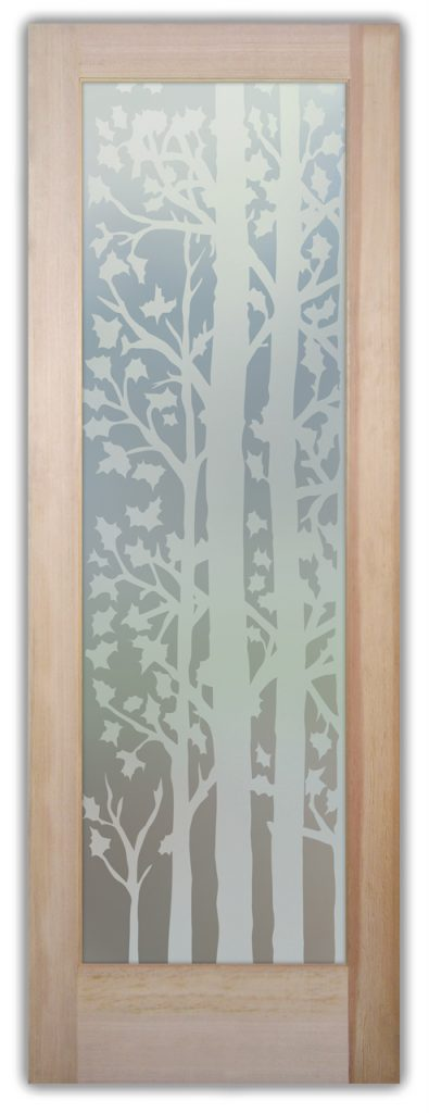 Forest Trees 1D Private Etched Glass Doors