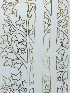 Forest Trees with Glass Etching Rustic Decor