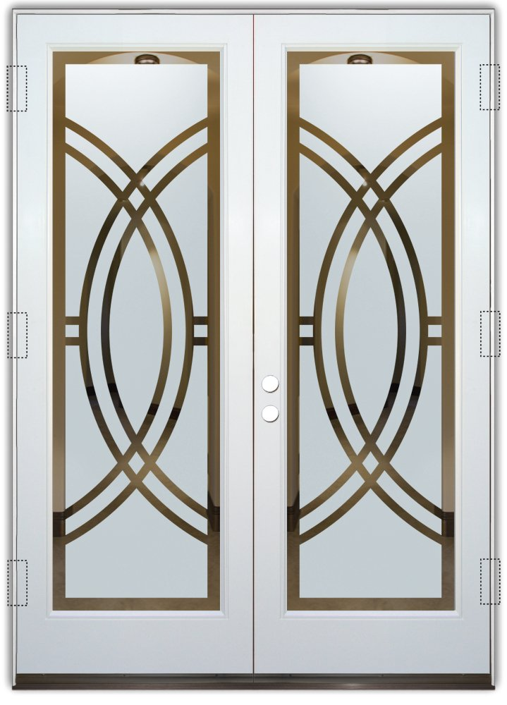 frosted glass front doors etching glass sleek art deco design sans soucie arcs ll