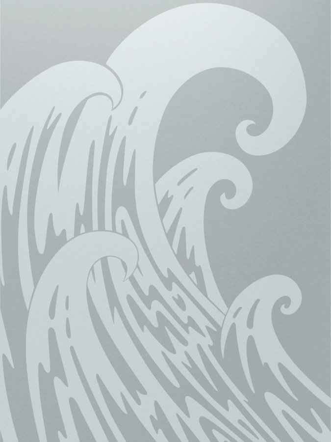 Newport Waves Nautical Style Interior Etched Glass Doors