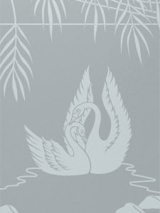 frosted glass english country style love birds ferns swan song sans soucie