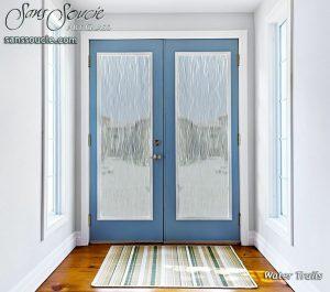 glass entry doors etched glass designs flowing lines geometric mediterranean decor sans soucie water trails