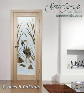 Interior Glass Doors Etched Glass Asian Decor Nature Birds Cranes Cattails