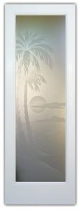 Glass Entry Doors Etched Glass Beach Decor Palm Trees Sunset Coastal Decor