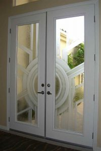 Exterior Glass Doors Etched Glass Modern Design Art Deco Style Geometric