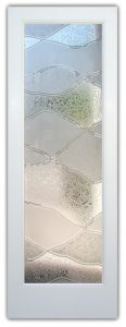 glass front doors with glass etching of hills rustic decor