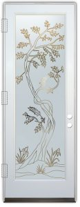 Sapling Front Doors with Glass Etching Asian Decor