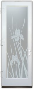interior glass doors sandblasted glass english country decor flowery foliage iris sans soucie
