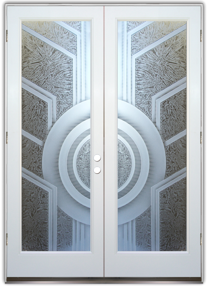 sun odyssey 3d art deco decor etched glass door. Black Bedroom Furniture Sets. Home Design Ideas
