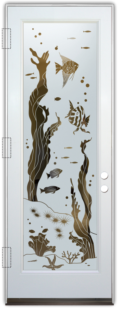 glass entry doors etched glass tropical underwater troipcal style sans soucie aquarium fish