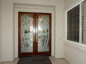 glass entry doors etched glass desert landscape scene western