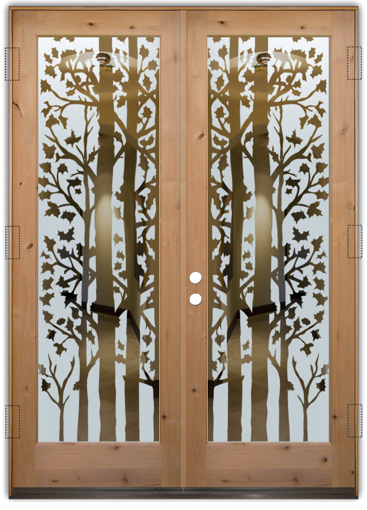 Forest trees etched glass front doors rustic design for Front door glass design