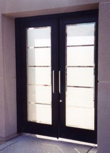 double entry doors with glass sandblasted glass traditional style geometric shapes rectangular grand sans soucie