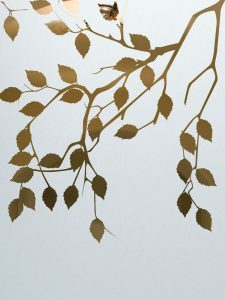 frosted glass cherry tree leaves branches asian design sans soucie