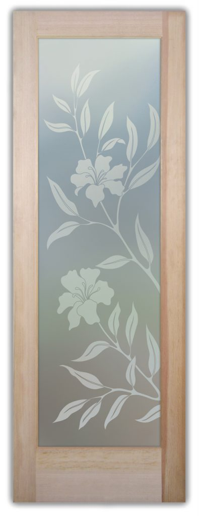 Hibiscus 1D Private Etched Glass Doors