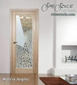 glass front doors glass etching art deco design angular geometric shapes matrix angles sans soucie