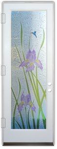 iris flower glass door