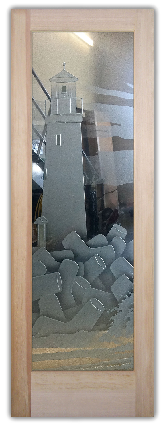 Lighthouse 3d Etched Glass Doors Nautical Decor