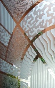 Frameless Glass Doors with Carved and Gluechipped Glass Etching Modern Contemporary matrix close up by Sans Soucie