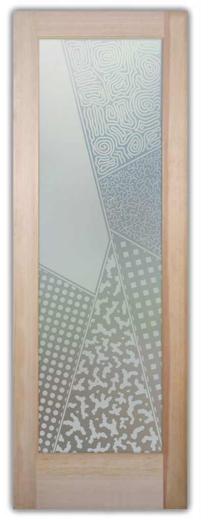 Matrix Angles 1D Private Etched Glass Doors