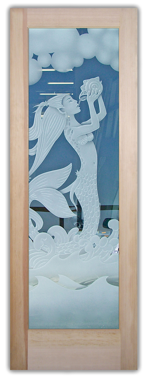 Mermaid 3d Etched Glass Doors Sans Soucie Art Glass