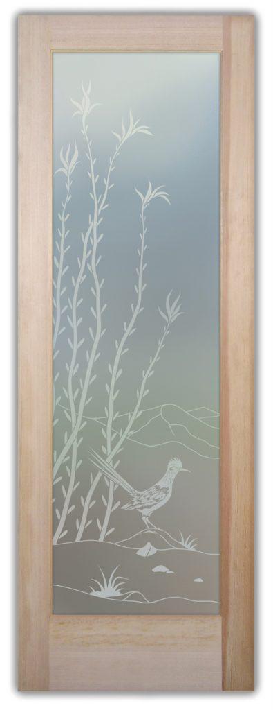 Ocotillo Roadrunner1D Private Etched Glass Door
