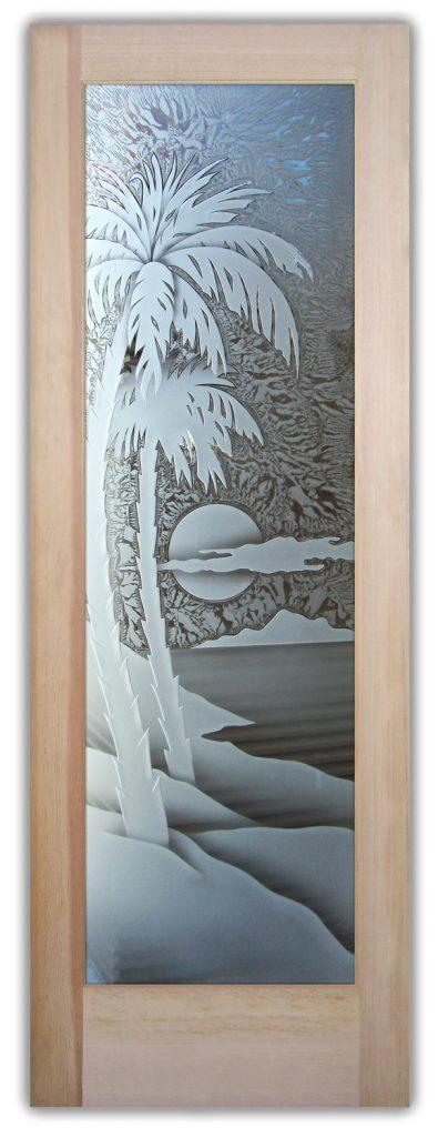 Palm Sunset 3D Enhanced Gluechip Etched Glass Door