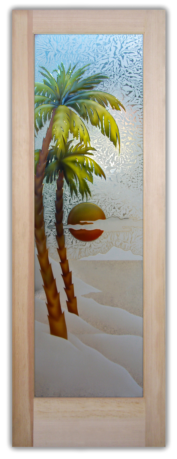 Palm Sunset 3d Painted Etched Glass Doors Beach Decor
