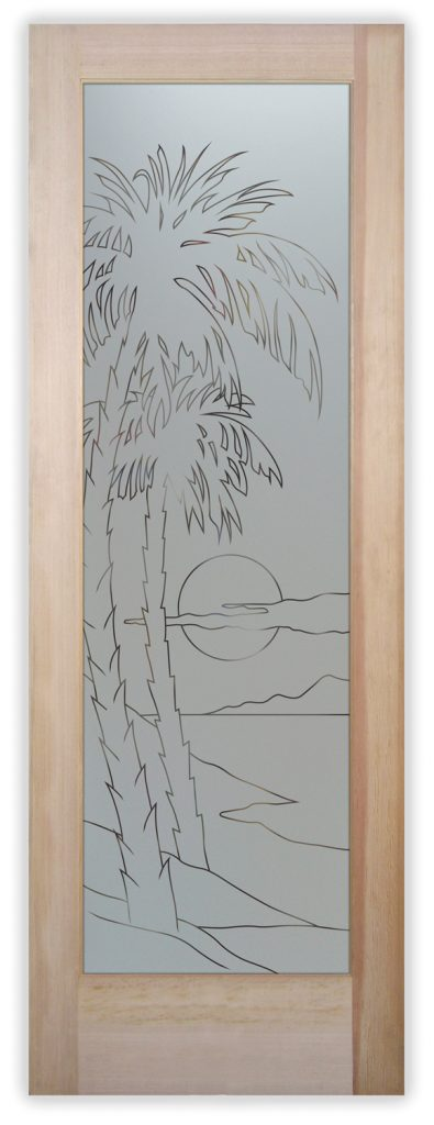 palms sunset pinstripe pantry door