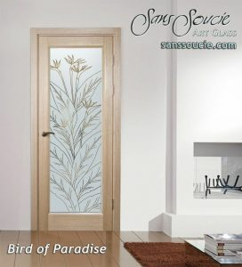 Bird of Paradise Front Doors with Glass Etching Tropical Decor