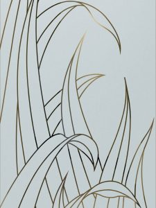 Reeds with Glass Etching Tropical Design
